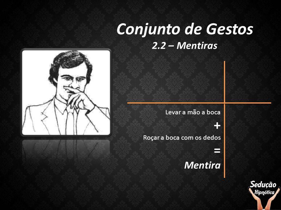 Conjunto de Gestos + = 2.2 – Mentiras Mentira Levar a mão a boca