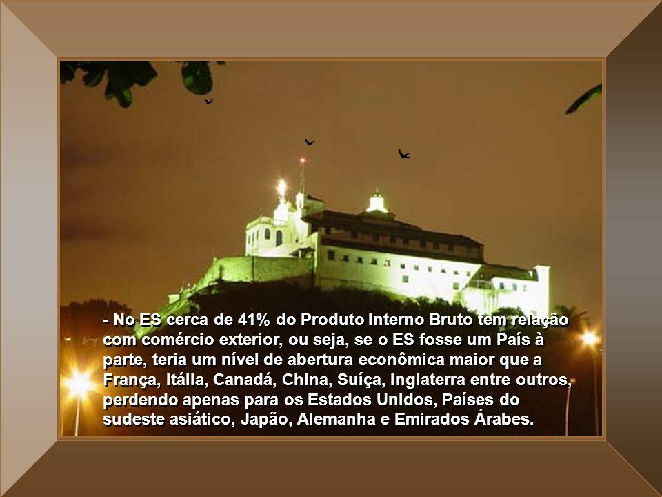 - No ES cerca de 41% do Produto Interno Bruto tem relação com comércio exterior, ou seja, se o ES fosse um País à parte, teria um nível de abertura econômica maior que a França, Itália, Canadá, China, Suíça, Inglaterra entre outros, perdendo apenas para os Estados Unidos, Países do sudeste asiático, Japão, Alemanha e Emirados Árabes.