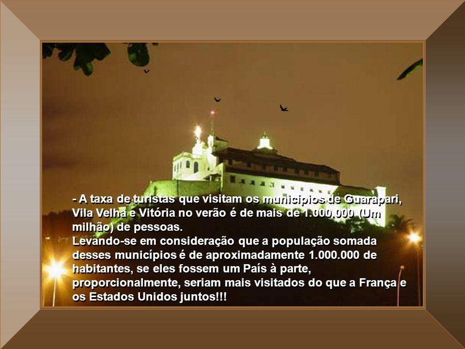 - A taxa de turistas que visitam os municípios de Guarapari, Vila Velha e Vitória no verão é de mais de 1.000.000 (Um milhão) de pessoas.