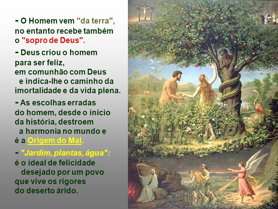 - O Homem vem da terra , no entanto recebe também o sopro de Deus .