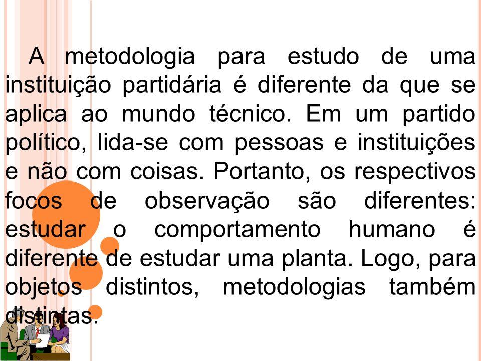 A metodologia para estudo de uma instituição partidária é diferente da que se aplica ao mundo técnico.