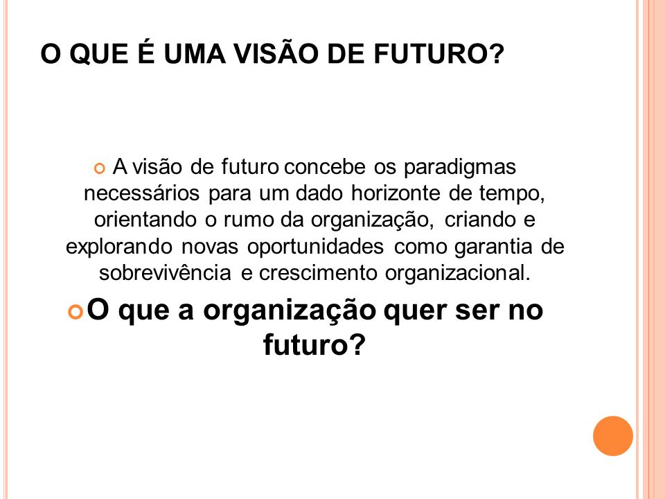 O QUE É UMA VISÃO DE FUTURO