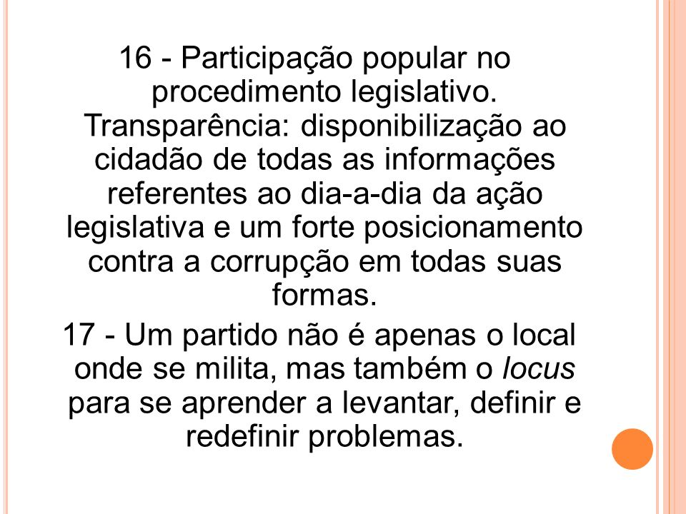 16 - Participação popular no procedimento legislativo