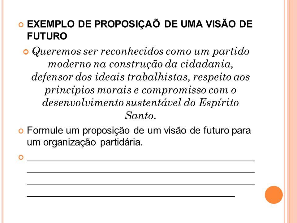 EXEMPLO DE PROPOSIÇAÕ DE UMA VISÃO DE FUTURO