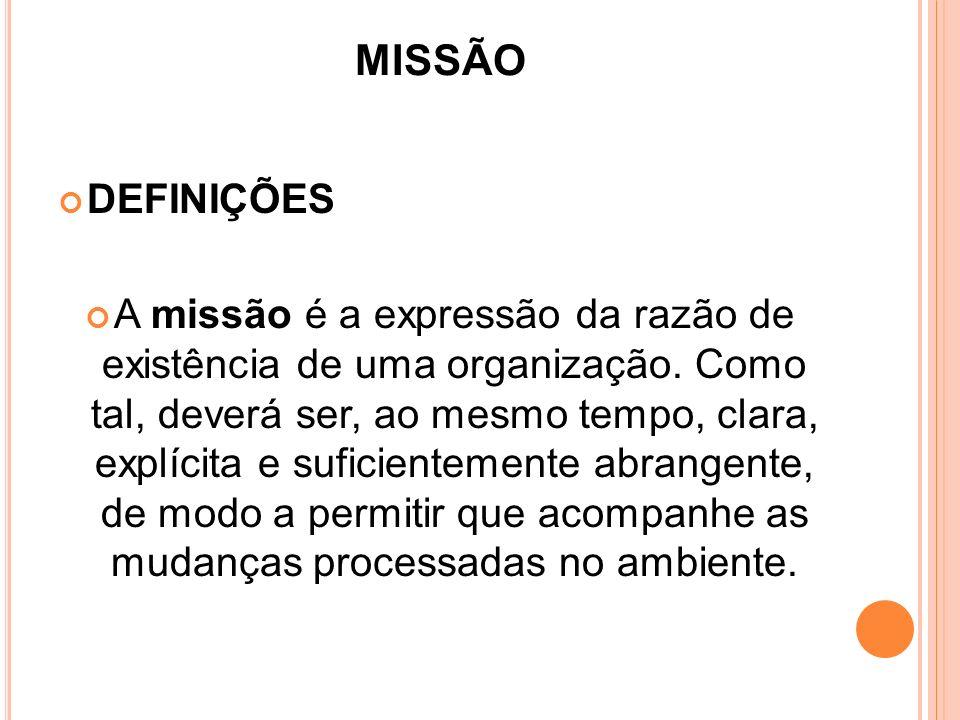 MISSÃO DEFINIÇÕES.