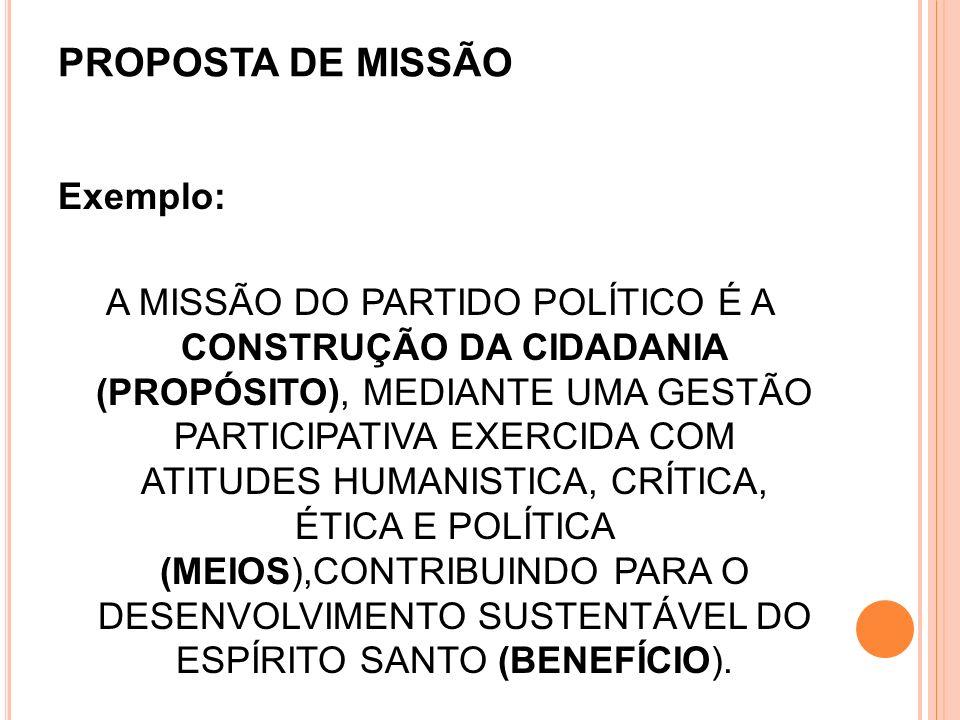 PROPOSTA DE MISSÃO
