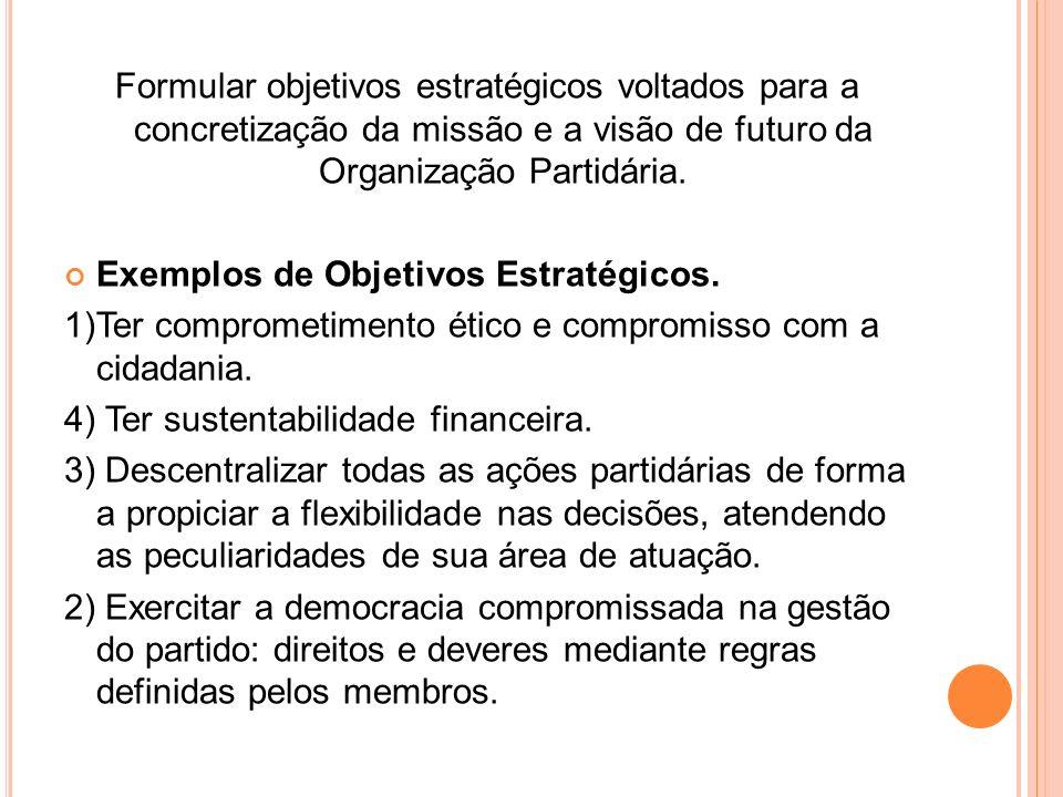 Formular objetivos estratégicos voltados para a concretização da missão e a visão de futuro da Organização Partidária.
