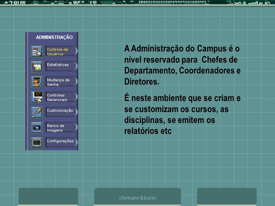 A Administração do Campus é o nível reservado para Chefes de Departamento, Coordenadores e Diretores.