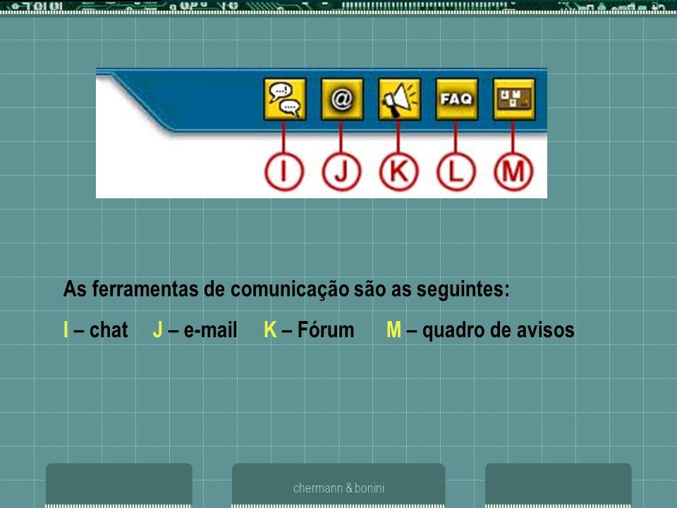 As ferramentas de comunicação são as seguintes: