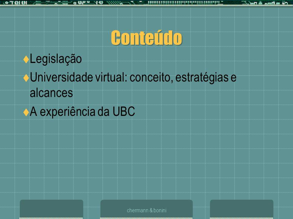 Conteúdo Legislação. Universidade virtual: conceito, estratégias e alcances. A experiência da UBC.