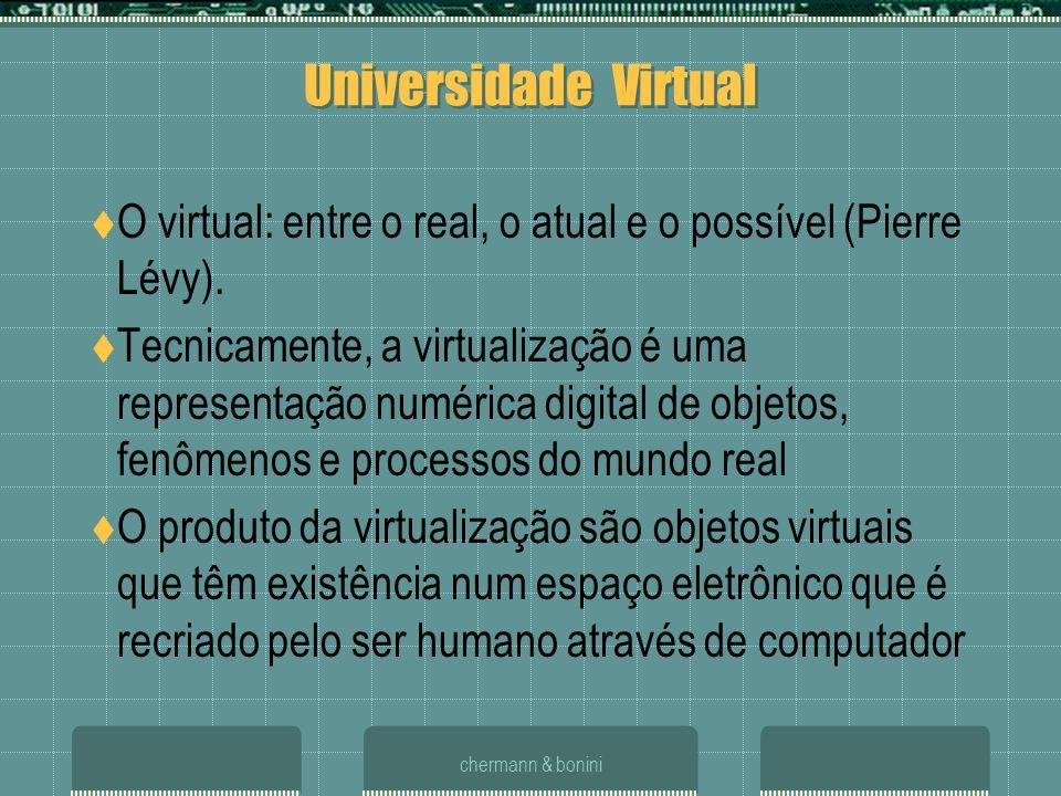 Universidade Virtual O virtual: entre o real, o atual e o possível (Pierre Lévy).