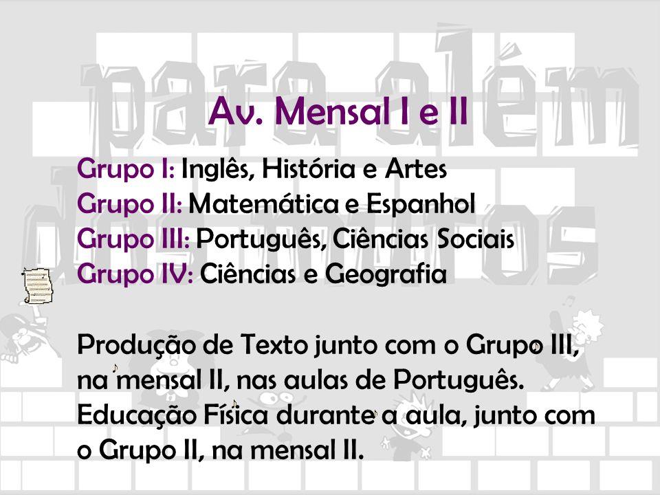 Av. Mensal I e II Grupo I: Inglês, História e Artes