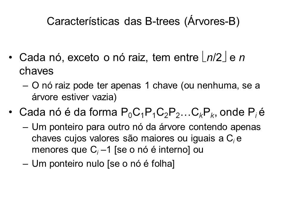 Características das B-trees (Árvores-B)
