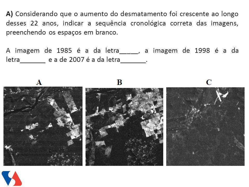 A) Considerando que o aumento do desmatamento foi crescente ao longo desses 22 anos, indicar a sequência cronológica correta das imagens, preenchendo os espaços em branco.