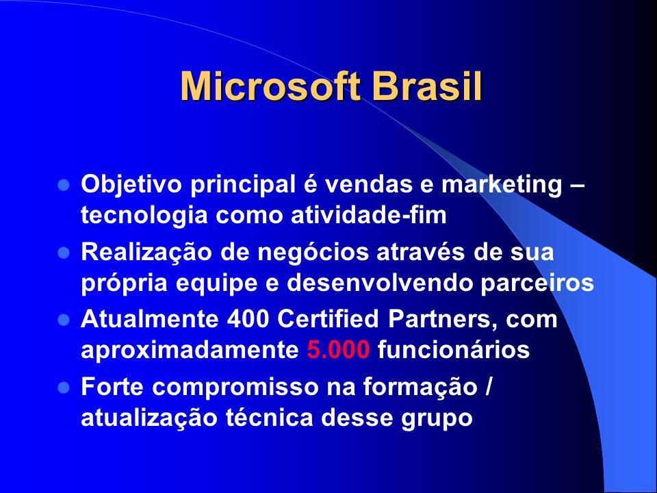 Microsoft Brasil Objetivo principal é vendas e marketing – tecnologia como atividade-fim.