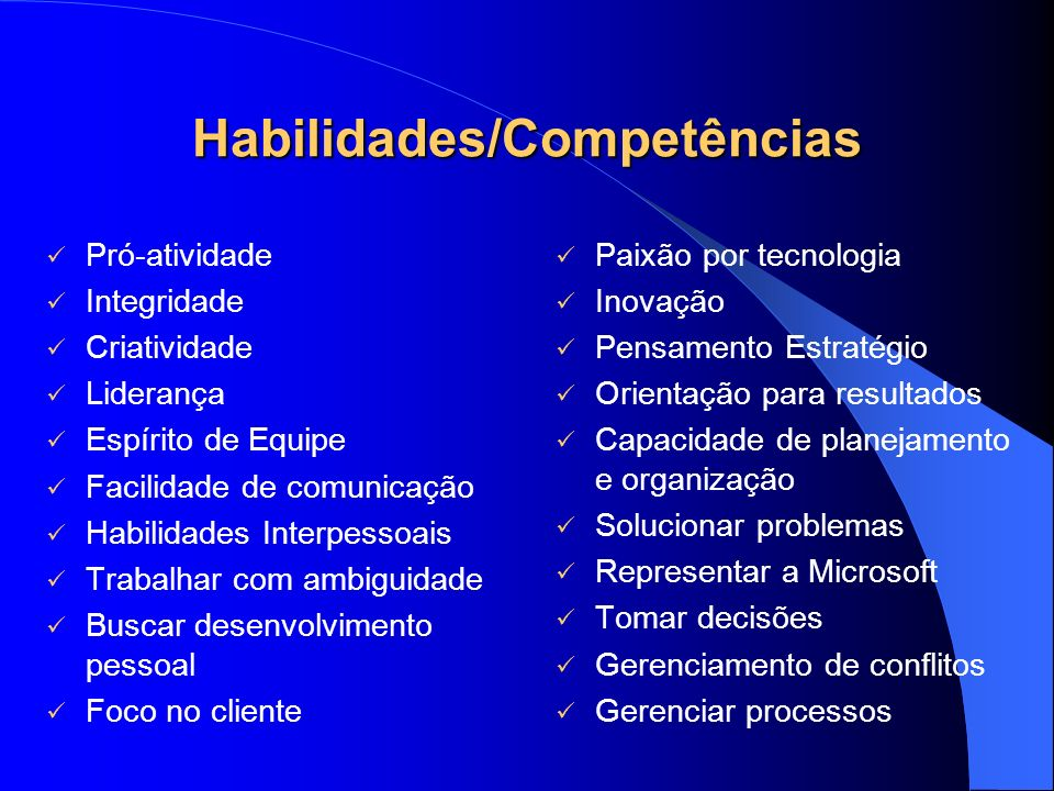 Habilidades/Competências