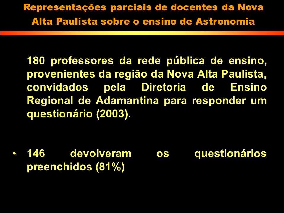 146 devolveram os questionários preenchidos (81%)
