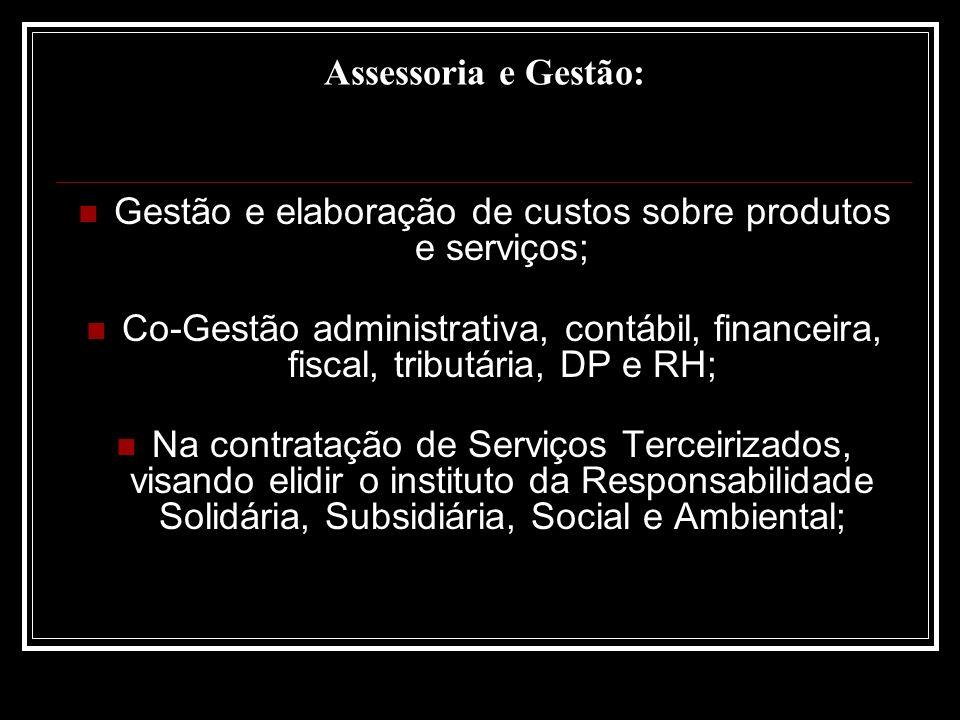 Gestão e elaboração de custos sobre produtos e serviços;