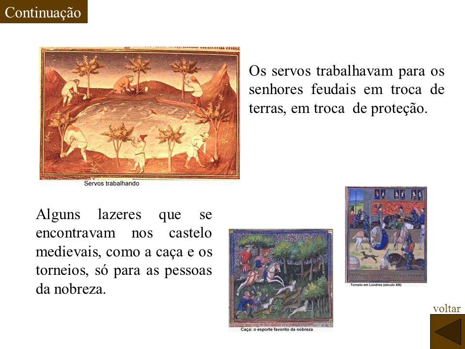 Continuação Os servos trabalhavam para os senhores feudais em troca de terras, em troca de proteção.