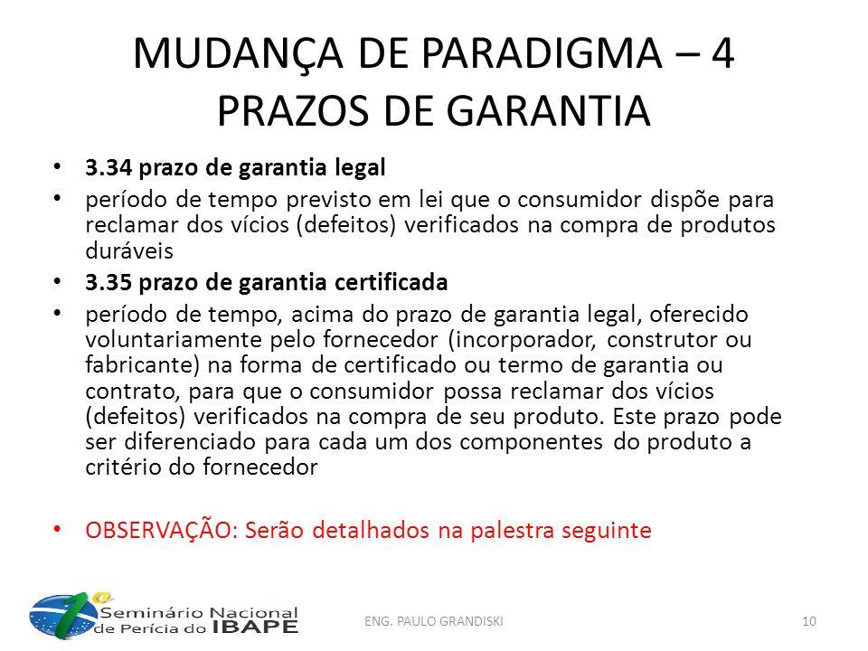 MUDANÇA DE PARADIGMA – 4 PRAZOS DE GARANTIA
