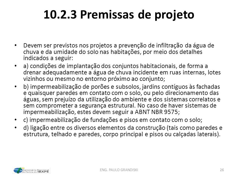 10.2.3 Premissas de projeto
