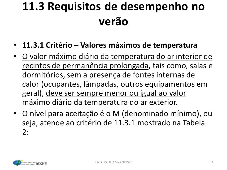 11.3 Requisitos de desempenho no verão