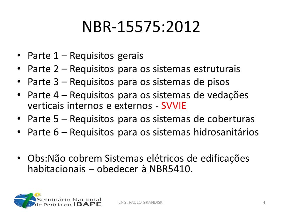NBR-15575:2012 Parte 1 – Requisitos gerais