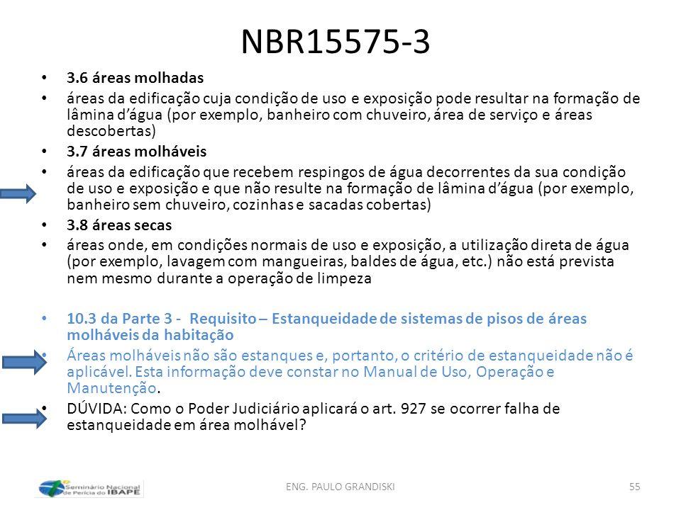 NBR15575-3 3.6 áreas molhadas.