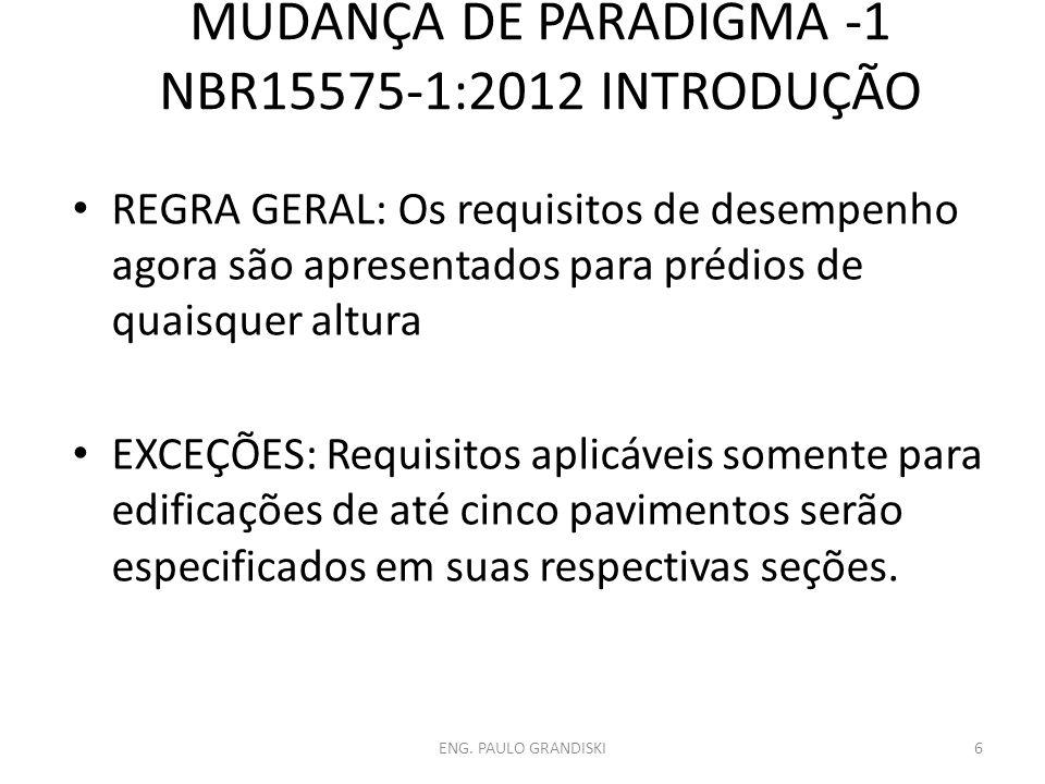 MUDANÇA DE PARADIGMA -1 NBR15575-1:2012 INTRODUÇÃO