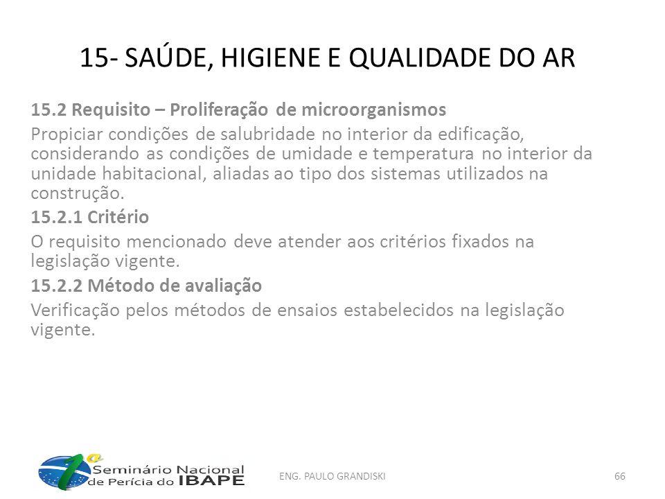 15- SAÚDE, HIGIENE E QUALIDADE DO AR