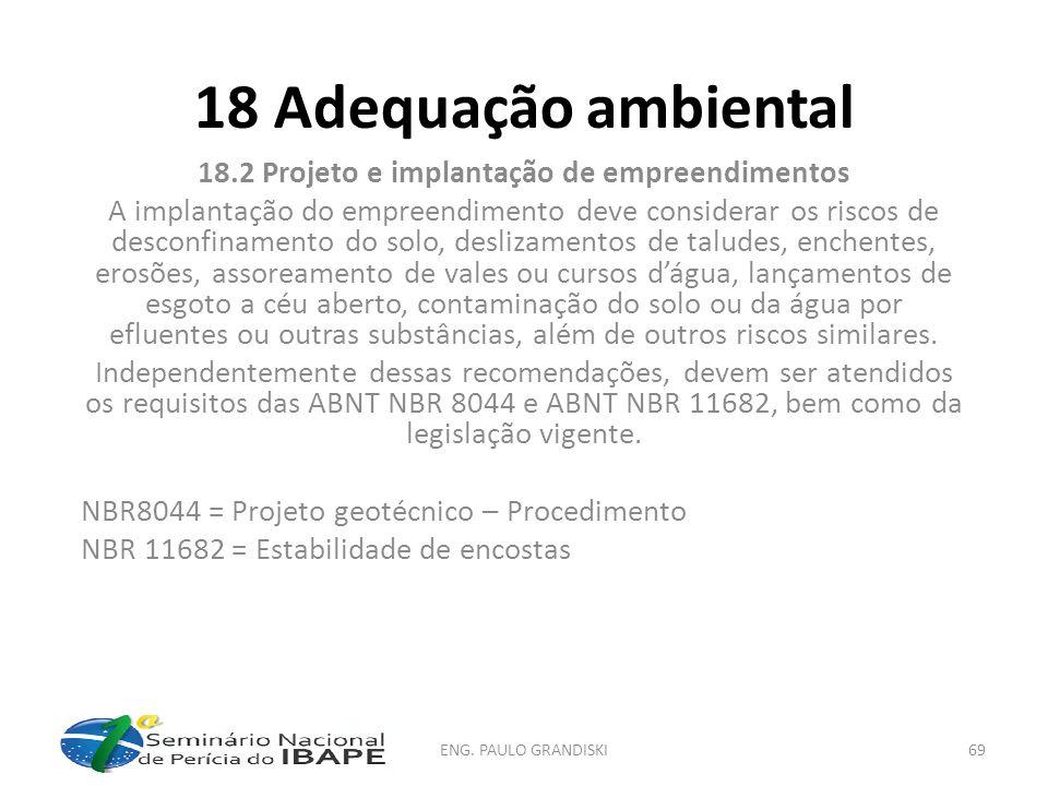 18.2 Projeto e implantação de empreendimentos