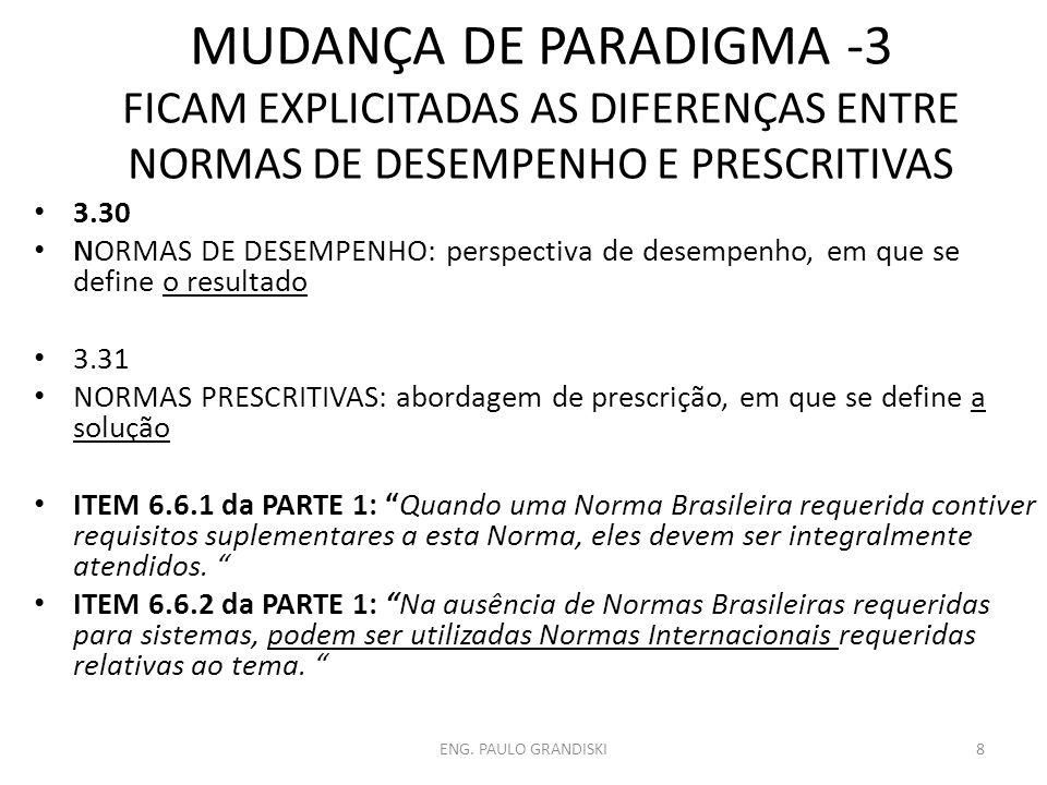 MUDANÇA DE PARADIGMA -3 FICAM EXPLICITADAS AS DIFERENÇAS ENTRE NORMAS DE DESEMPENHO E PRESCRITIVAS