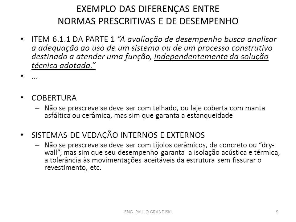 EXEMPLO DAS DIFERENÇAS ENTRE NORMAS PRESCRITIVAS E DE DESEMPENHO