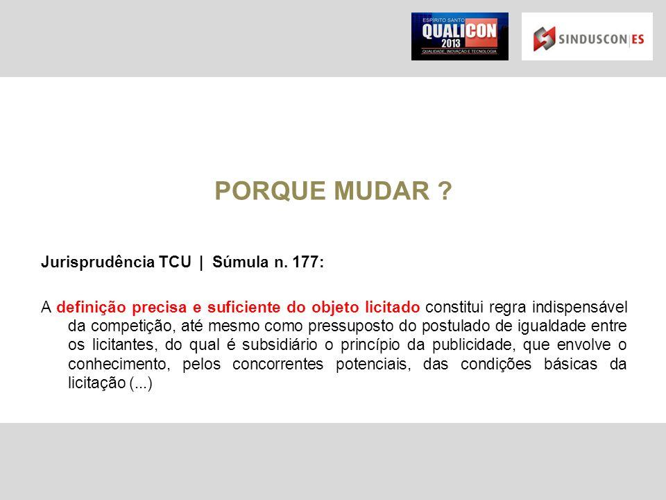 PORQUE MUDAR Jurisprudência TCU | Súmula n. 177: