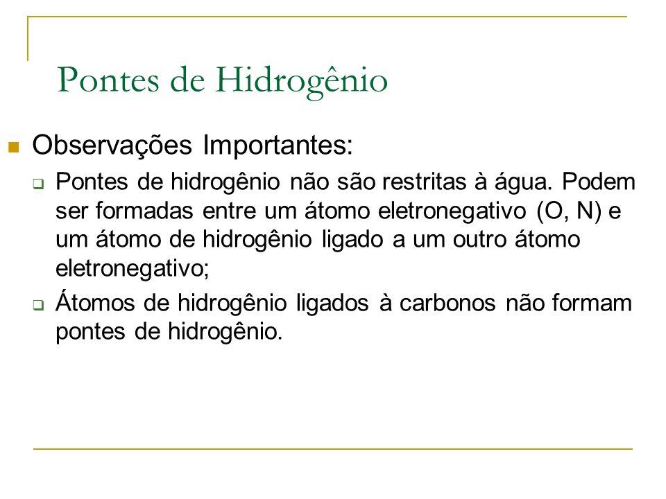 Pontes de Hidrogênio Observações Importantes: