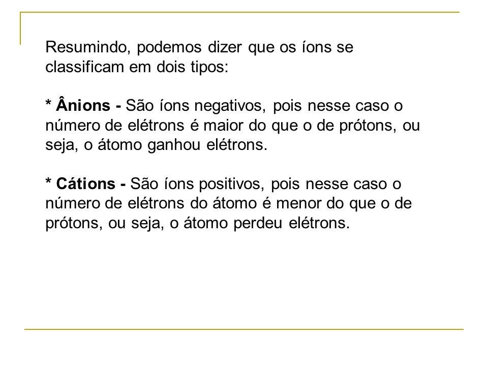 Resumindo, podemos dizer que os íons se classificam em dois tipos:
