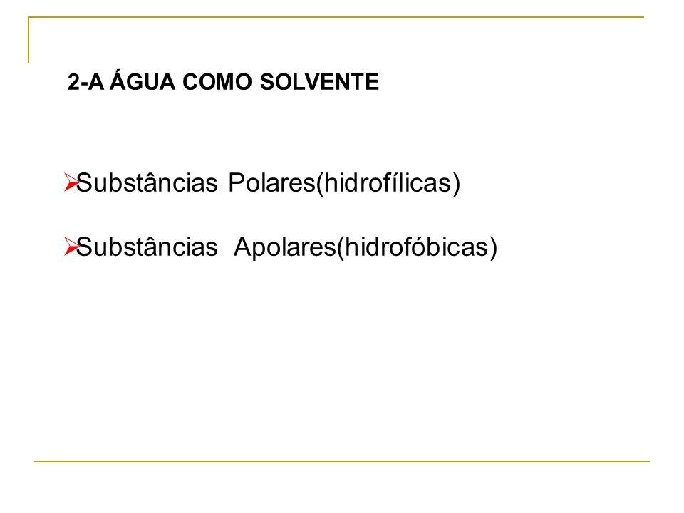 Substâncias Polares(hidrofílicas) Substâncias Apolares(hidrofóbicas)
