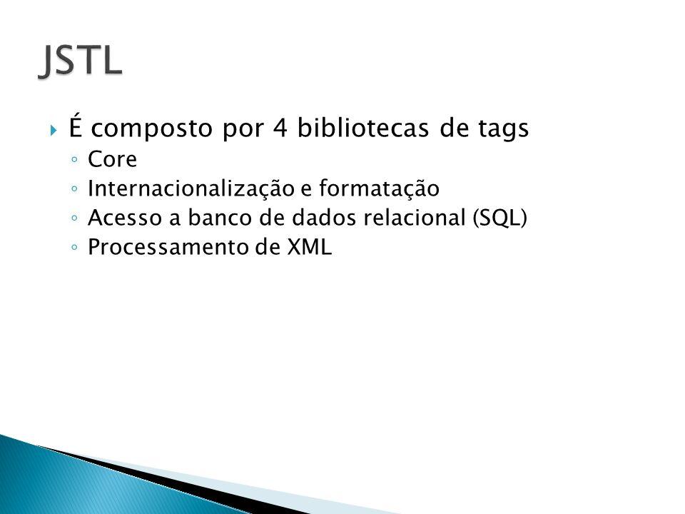 JSTL É composto por 4 bibliotecas de tags Core