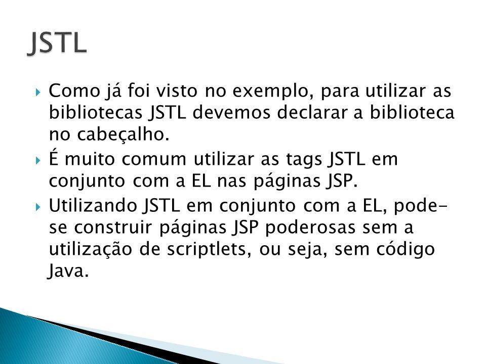 JSTL Como já foi visto no exemplo, para utilizar as bibliotecas JSTL devemos declarar a biblioteca no cabeçalho.