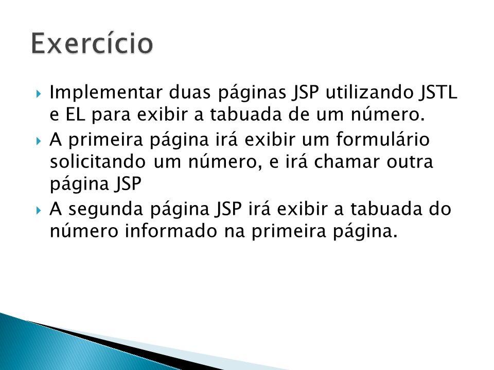 Exercício Implementar duas páginas JSP utilizando JSTL e EL para exibir a tabuada de um número.