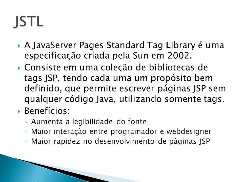 JSTL A JavaServer Pages Standard Tag Library é uma especificação criada pela Sun em 2002.