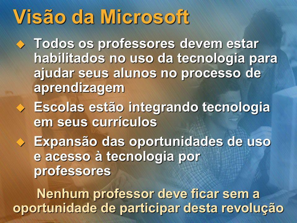 Visão da Microsoft Todos os professores devem estar habilitados no uso da tecnologia para ajudar seus alunos no processo de aprendizagem.