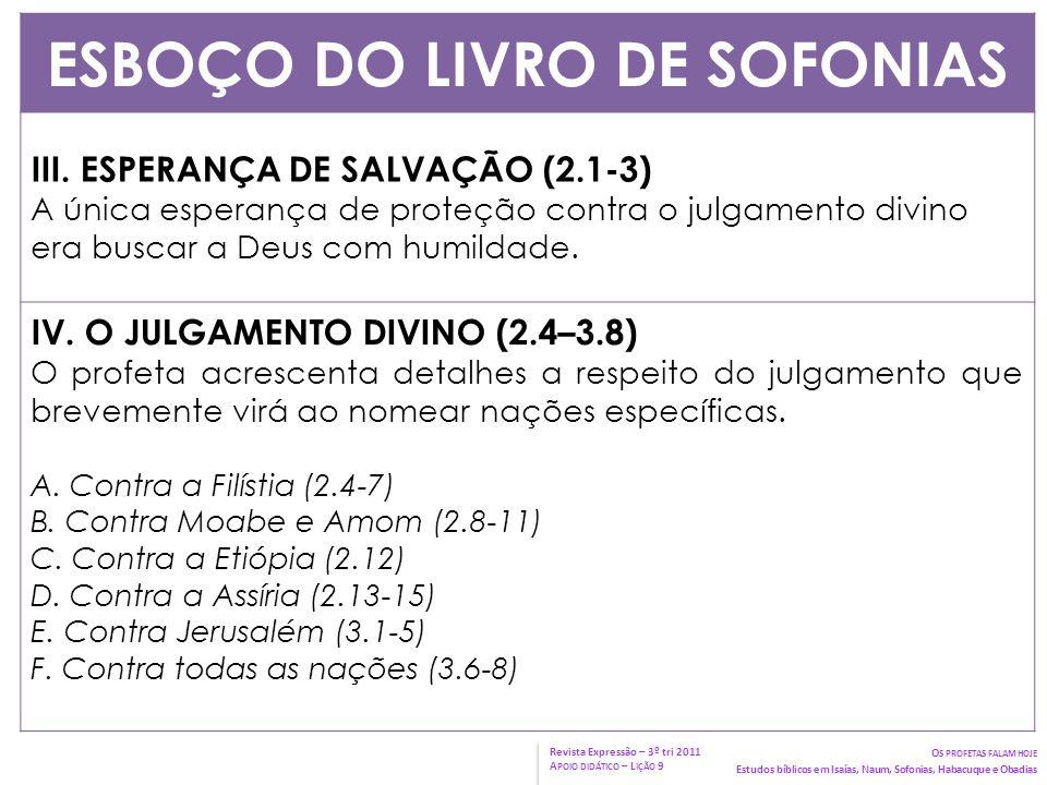 ESBOÇO DO LIVRO DE SOFONIAS