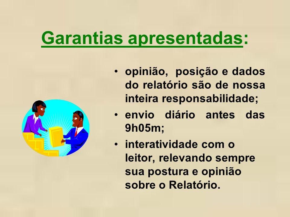 Garantias apresentadas: