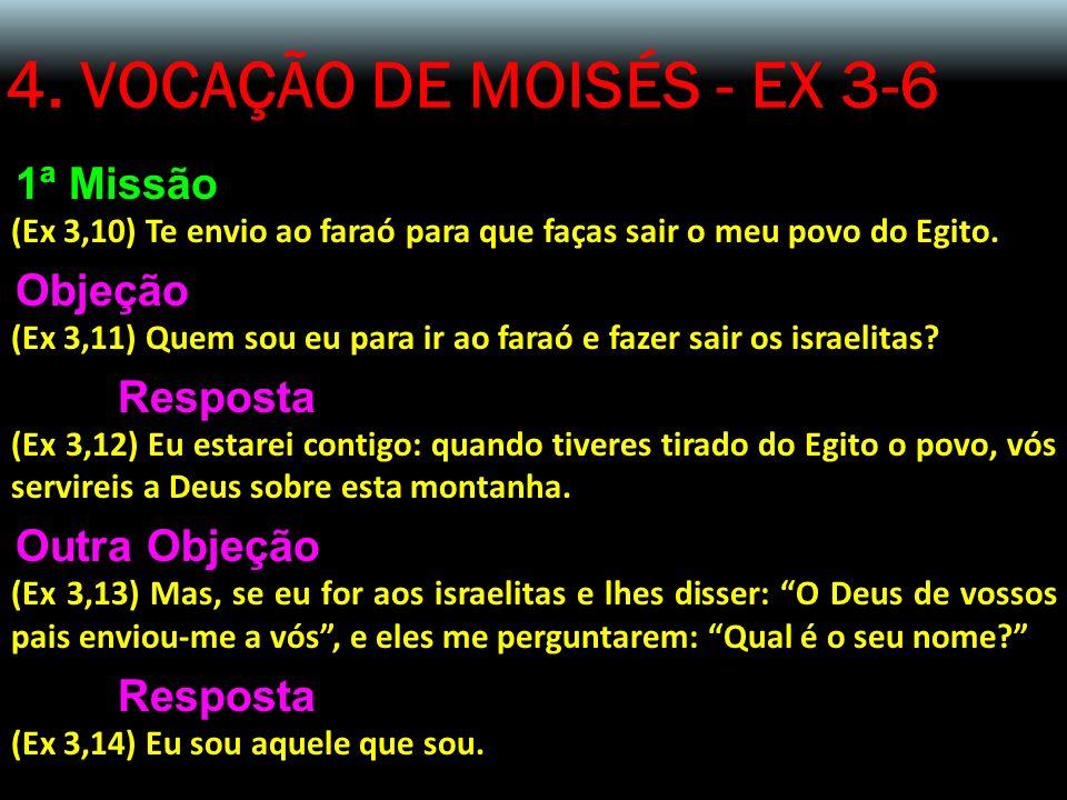 4. VOCAÇÃO DE MOISÉS - EX 3-6 1ª Missão Objeção Resposta Outra Objeção