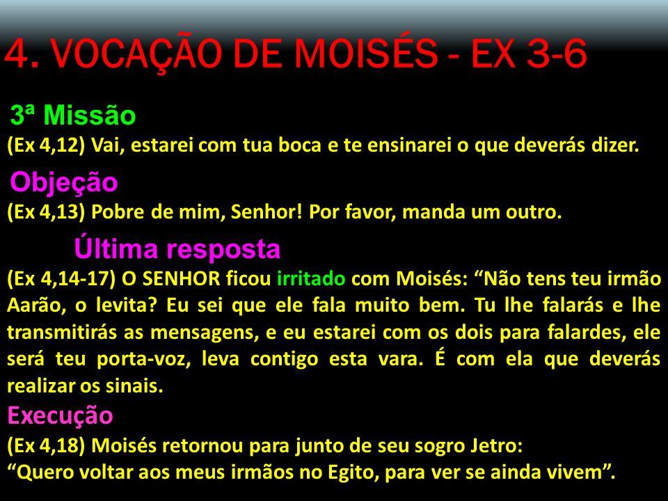 4. VOCAÇÃO DE MOISÉS - EX 3-6 3ª Missão Objeção Última resposta