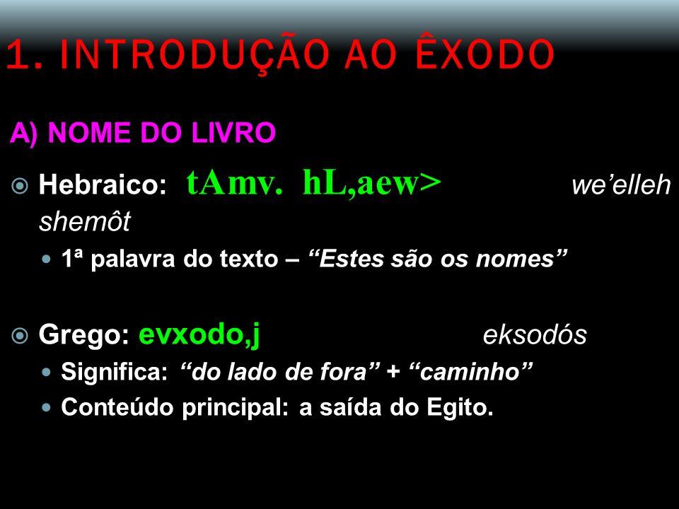 1. INTRODUÇÃO AO ÊXODO A) NOME DO LIVRO