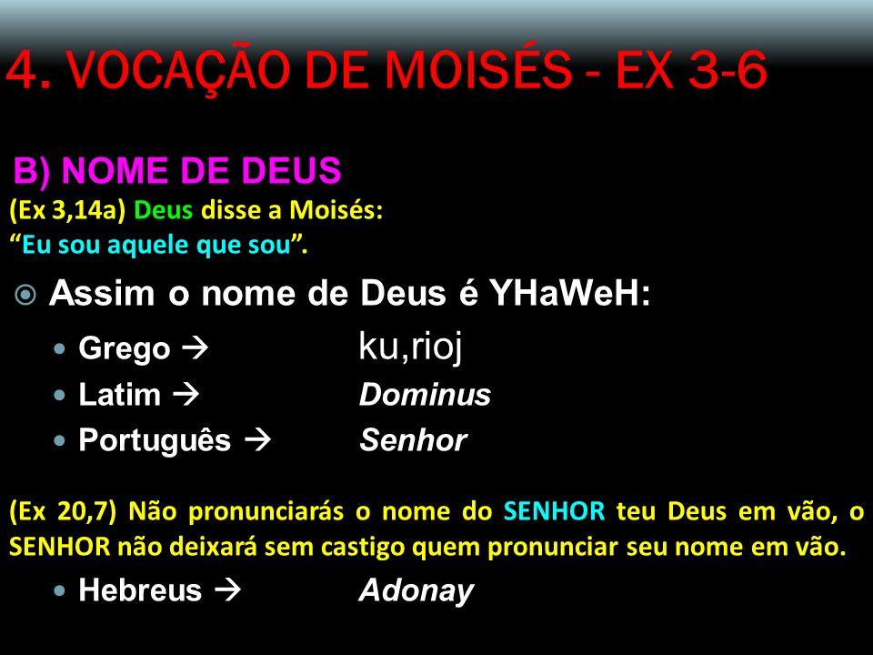 4. VOCAÇÃO DE MOISÉS - EX 3-6 B) NOME DE DEUS