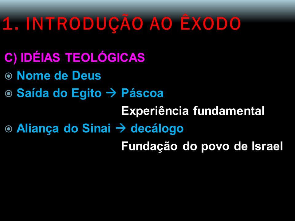 1. INTRODUÇÃO AO ÊXODO C) IDÉIAS TEOLÓGICAS Nome de Deus