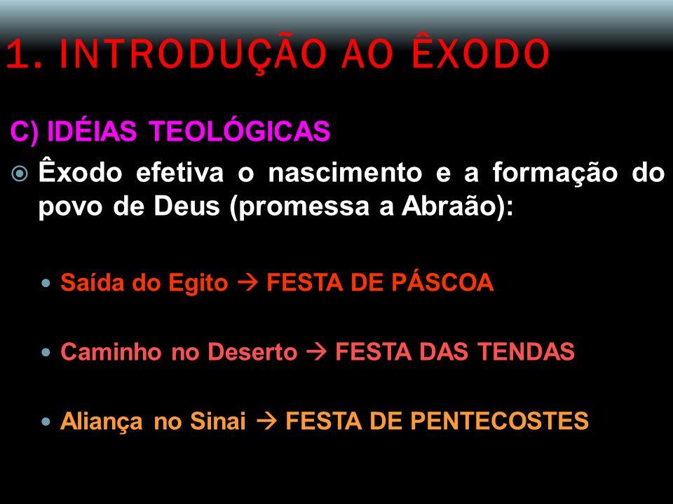 1. INTRODUÇÃO AO ÊXODO C) IDÉIAS TEOLÓGICAS